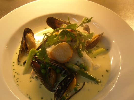 Ivybridge, UK: fricasse of hake scallops and mussels  asparagus veloute