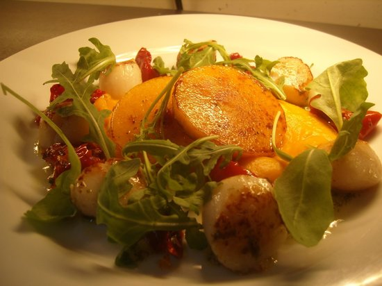 Ivybridge, UK: roasted scallops and butternut squash