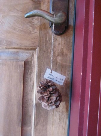 "Sisters, OR: Adorable pine cone ""do not disturb"" sign - little details like this really make the Lodge perfec"