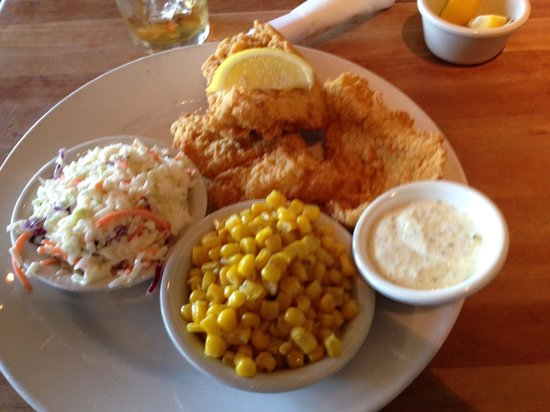 Gainesville, GA: Catfish Filet with buttered corn off the cob and slaw