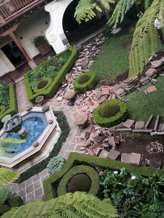 Palacio de Dona Leonor: Courtyard being torn up on the third day of our stay.