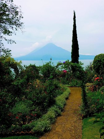 Hotel Atitlan: View of the volcano and lake from hotel's gardens.