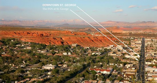The INN at St.George: A view of our location in St. George, Utah. Best downtown location.