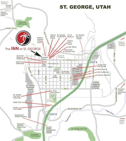 The INN at St.George: A map that shows our convenient location.  Unpack once, park your car.