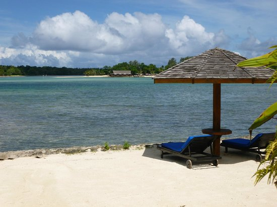 Warwick Le Lagon Resort &amp; Spa, Vanuatu: Looking across the lagoon to Erakor Resort