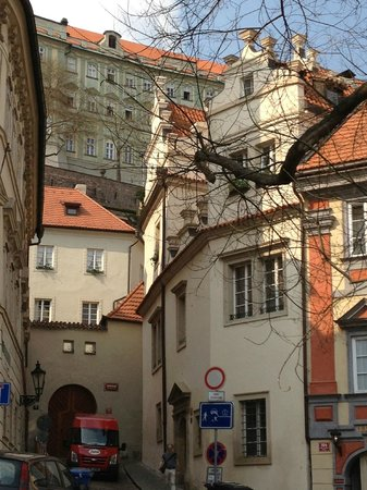 Golden Well (U Zlate Studne): Street to hotel, with castle grounds above
