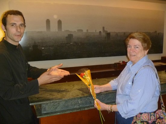Hotel Montecarlo Barcelona: Roger, of the hotel staff, presents a rose on Sant Jordi Day