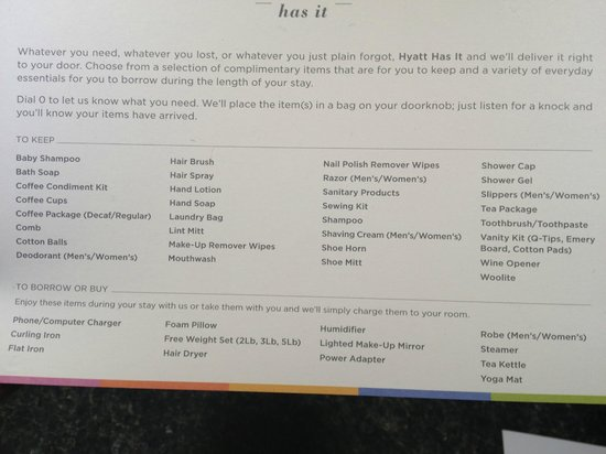 Hyatt Chicago Magnificent Mile: List of things in the room and other you can buy