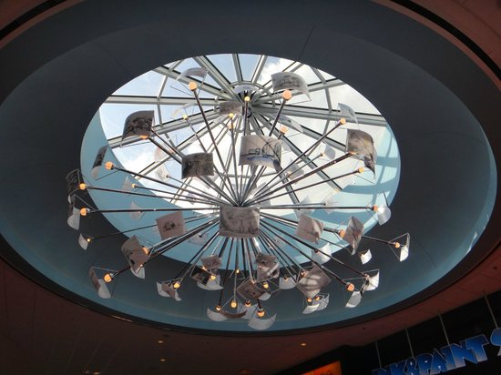 Disney&#39;s Art of Animation Resort: skylight with animation cells in the lobby