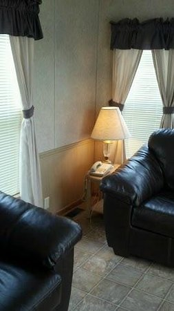 Kinder, LA: chalet leather couch and very comfortable chair with lamp.