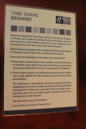 Holiday Inn Resort Phuket: time share warning