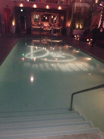 W Hollywood: the pool by night