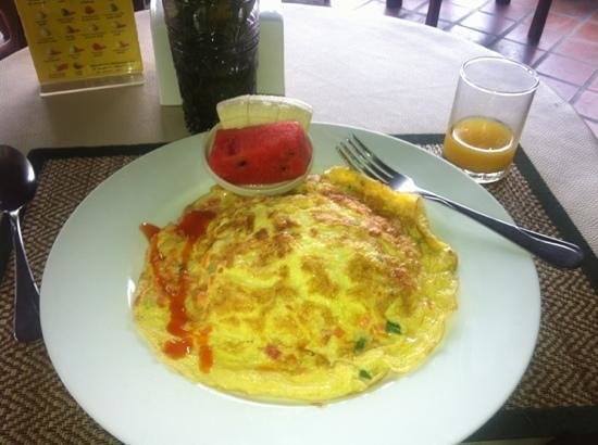 The 3 Sis: breakfast - Thai omelette with rice and fresh fruit
