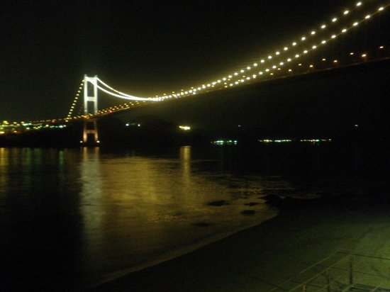 Imabari, Japan: Night view of bridge from the dining room