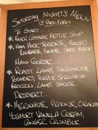 Devon, UK : Menu for the night!