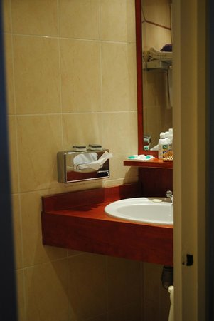 Hotel Beaugency: small bathroom, hardly any counter space