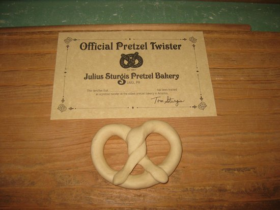 Lititz, : Pretzel and certificate