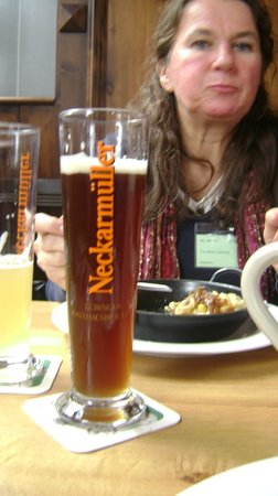 Tübingen, Deutschland: the wheat brew with the Label.