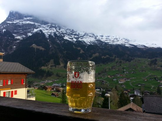 Jungfrau Lodge Swiss Mountain Hotel: View from our room 2 + BEER!