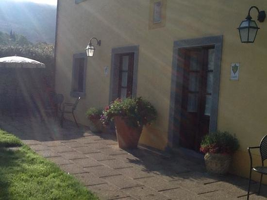 The Tuscan sun shining on our room at Casa Portagioia