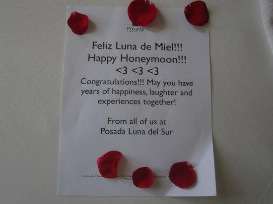 Posada Luna del Sur: Wonderful note