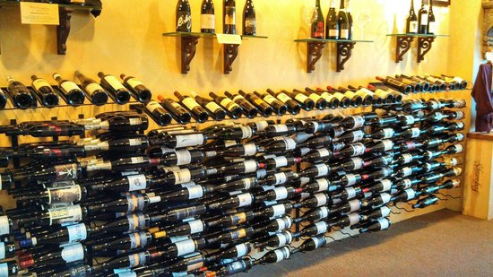 Solvang, CA: wall full of wine