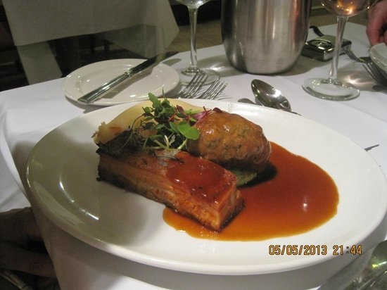 BEST WESTERN PLUS Windmill Village Hotel Golf & Leisure Club: Pork done two ways - pork belly and faggot