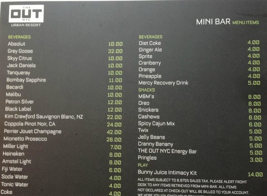 The Out NYC: Mini Bar Menu