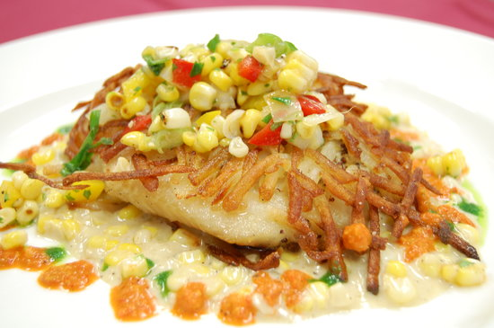 Harbor Springs, MI: Potato encrusted fresh local whitefish served with a creamy corn sauce