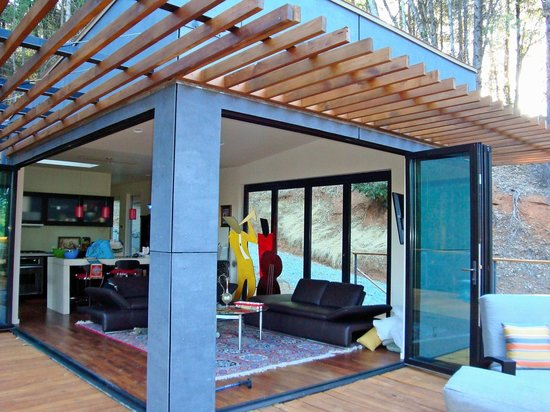Grass Valley, CA: The Walls of Glass Fold Open to the Huge Deck and Nature