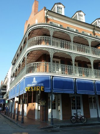 Royal Sonesta Hotel New Orleans: Hotel from the front. Great location right on Bourbon Street in the heart of it all