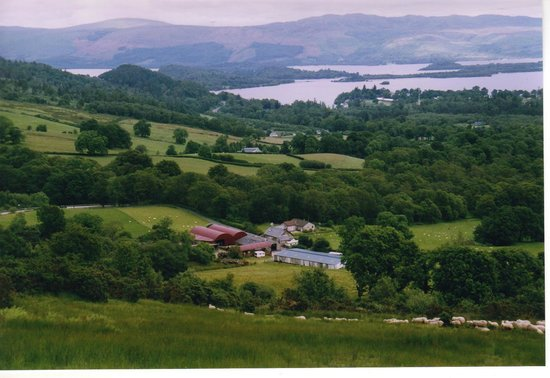 Luss, UK: View down to the Farm from Shantron Hill