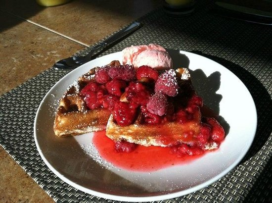 A View of the Lake: First breakfast: waffles with raspberry syrup and strawberry ice cream!