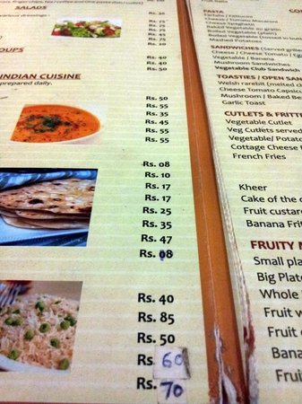 Arya Niwas: Menu at Chitra Cafe