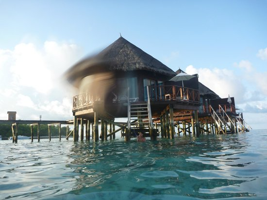 Thulhagiri Island Resort: View of the water villas from the beach