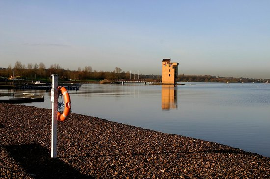 Motherwell, UK: The Timing tower for the rowing lanes