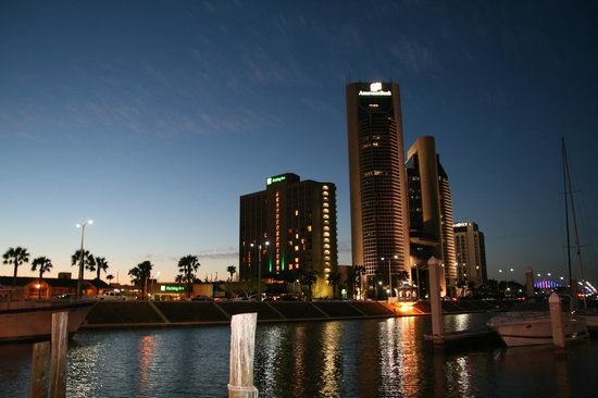 Holiday Inn Corpus Christi Downtown Marina: View of hotel from Marina at night