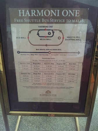 Harmoni One Convention Hotel and Service Apartments: Time Schedule of shuttle bus