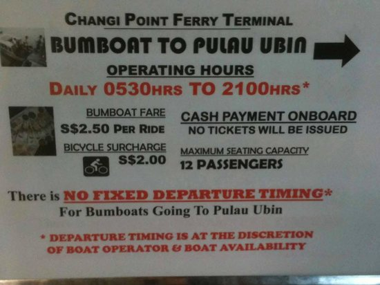 Pulau Ubin, Singapore: Ferry Rates