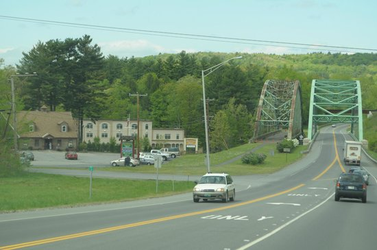 West Chesterfield, New Hampshire: view of hotel and bridges from the street