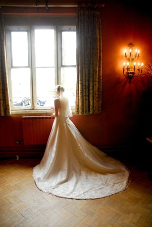 , UK: Bride in the window