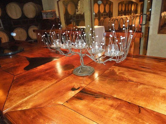 Stonewall, TX: Beautiful handmade table for private events in the wine cellar