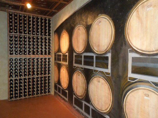 Stonewall, TX : Painted walls in the wine cellar 