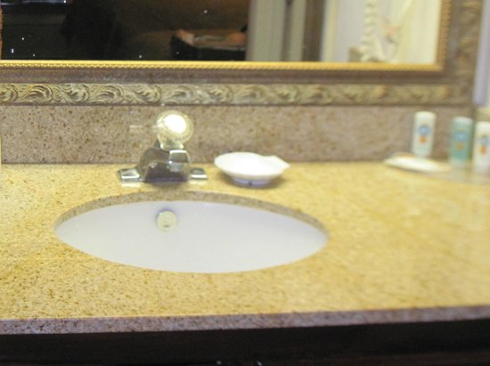 Quality Inn Heart of Savannah: vanity area, included tolietries (shampoo, soap, hand cream).