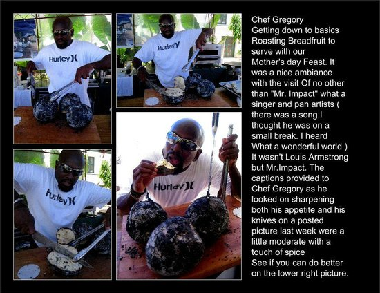 Speightstown, Barbados: Chef owner Gregory Getting to basics and roasting Breadfruit