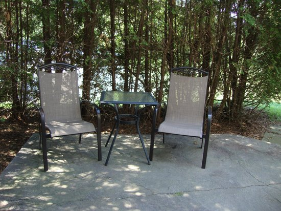 Ingersoll, Kanada: Nice private patio bordered by lovely cedar hedge.