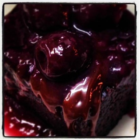 Burleigh Heads, Australia: choc brownie with cherries drunk on orange blossom...