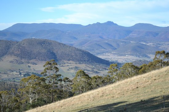 View from outsite the chalet. Mt Wellington and New Norfolk