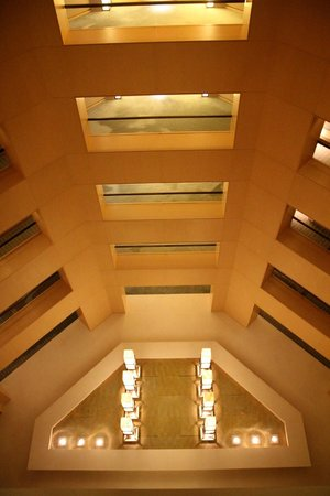 The Upper House: Ceiling above the moving stairway leading from main lobby