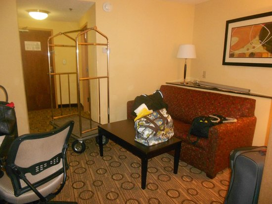 Comfort Suites Spartanburg: Separate sitting area, pull out couch